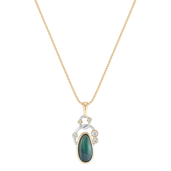 Freeform Green Sapphire and Round Diamond Pendant in Two-Tone Gold (18)