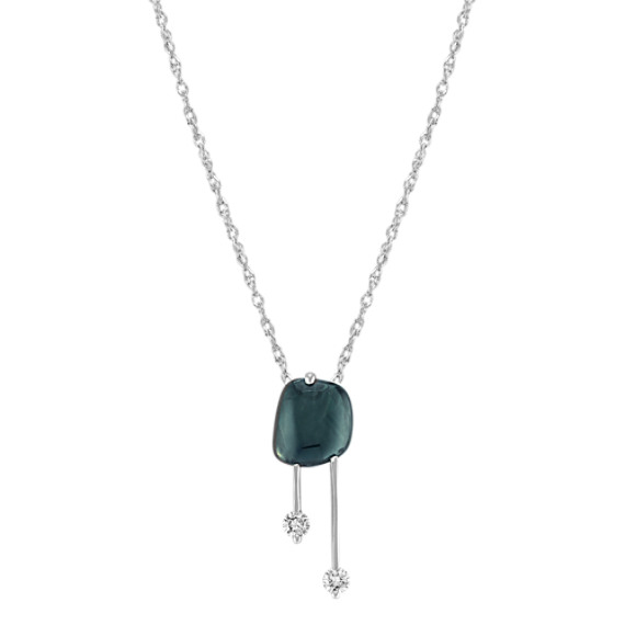 "Freeform Green Sapphire and Round Diamond Pendant (18"")"