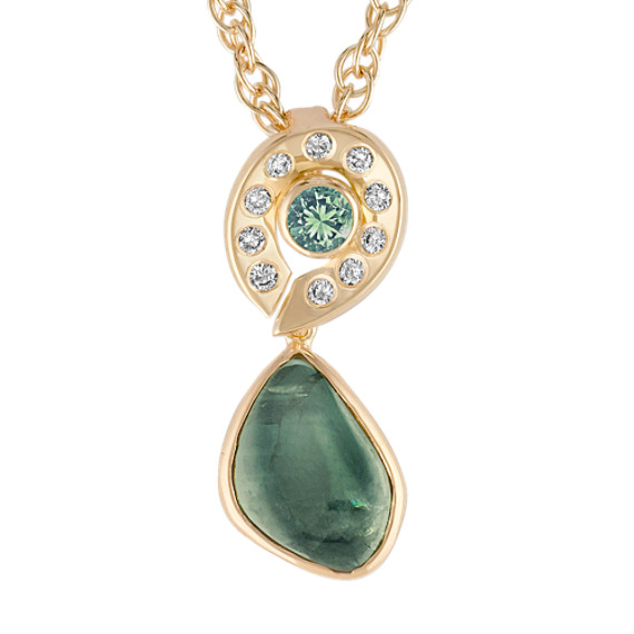 "Freeform Green Sapphire, Round Green Sapphire, and Round Diamond Pendant (18"")"