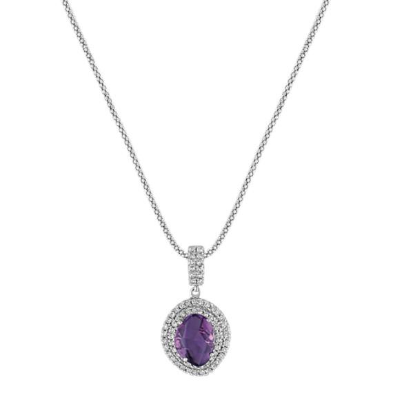 Freeform Lavender Sapphire and Diamond Pendant (22)