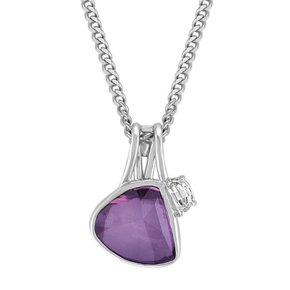 Freeform Lavender Sapphire and Half Moon Diamond Pendant (18)