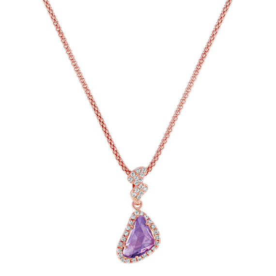 Freeform Lavender Sapphire and Round Diamond Pendant in 14k Rose Gold (18)