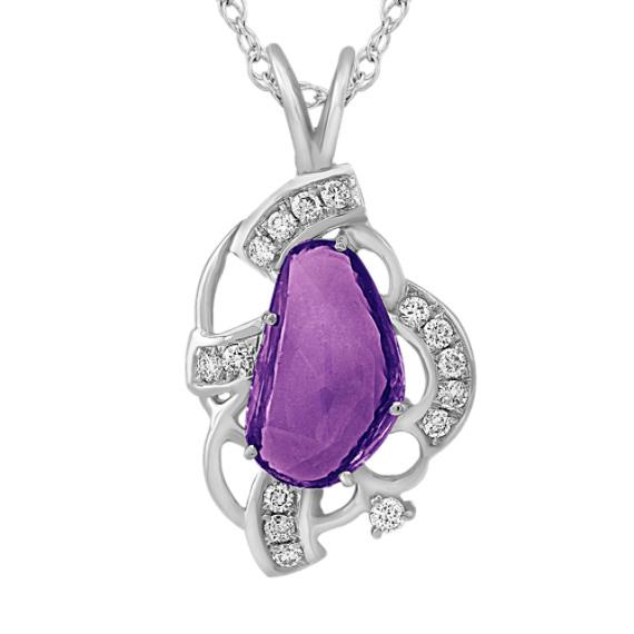 "Freeform Lavender Sapphire and Round Diamond Pendant (18"")"