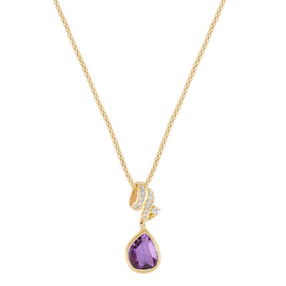 "Freeform Lavender Sapphire and Round Diamond Pendant (22"")"