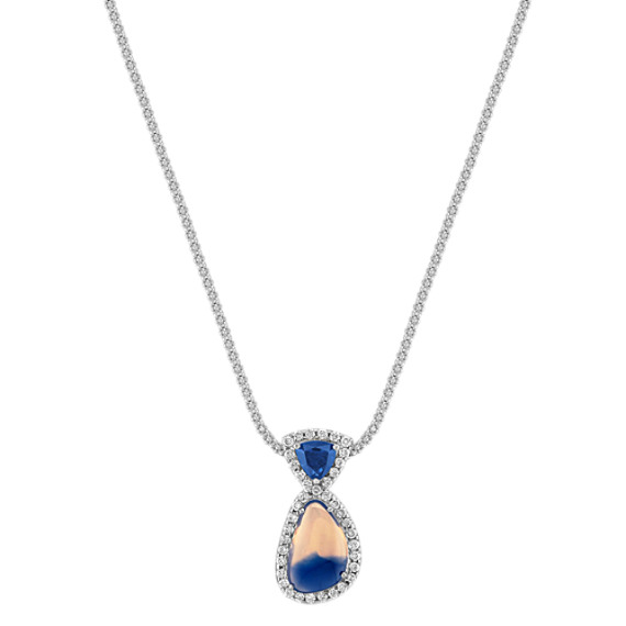 "Freeform Multi-Colored Sapphire, Trillion Sapphire, and Round Diamond Pendant (18"")"