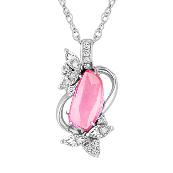 "Freeform Pink Sapphire, Marquise and Round Diamond Pendant (18"")"