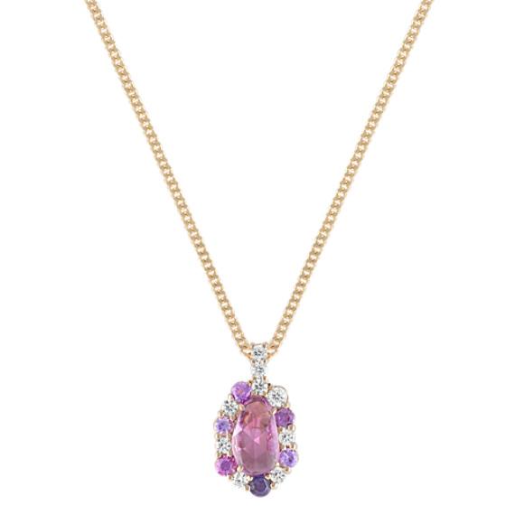 "Freeform Pink Sapphire, Round Lavender Sapphire, and Diamond Pendant (18"")"