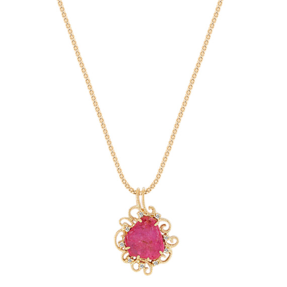 Freeform Rough Ruby Slab and Round Diamond Pendant (22)