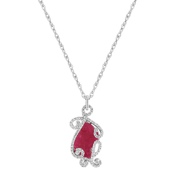 Freeform Rough Ruby Slab and Round Diamond Pendant (18)