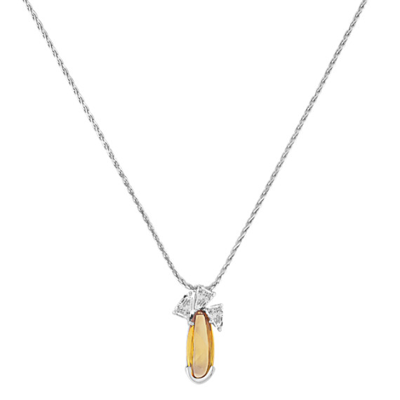 Freeform Yellow Sapphire and Fancy Shape Diamond Pendant (20)