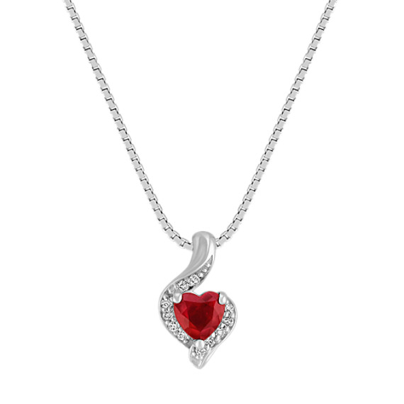 """Graceful Heart-Shaped Ruby and Diamond Pendant in White Gold (18"""")"""