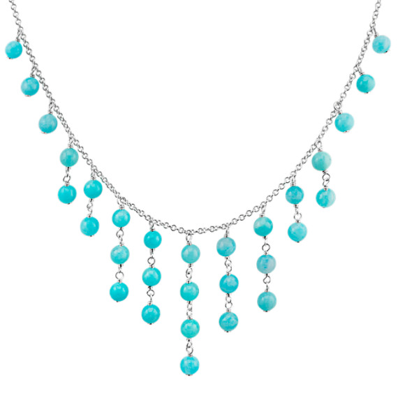 Green Amazonite Bead Necklace in Sterling Silver (18 in.)