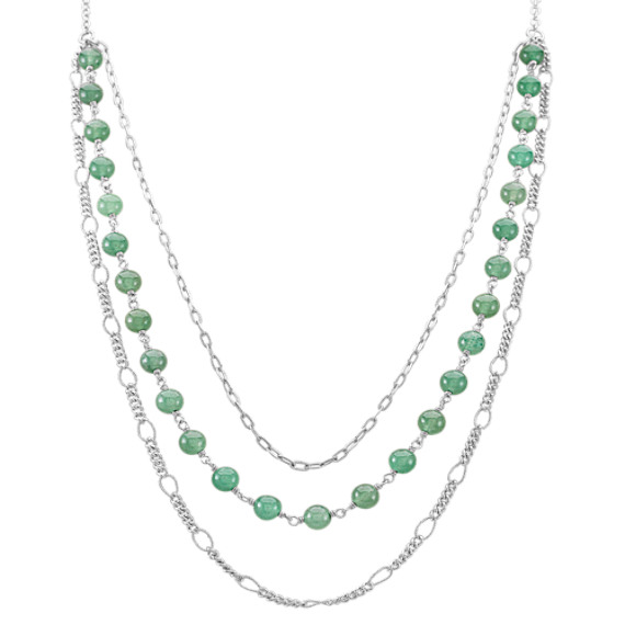 "Green Aventurine and Sterling Silver Necklace (25"")"