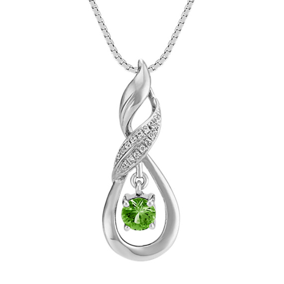 "Green Sapphire and Diamond Pendant in Sterling Silver (18"")"