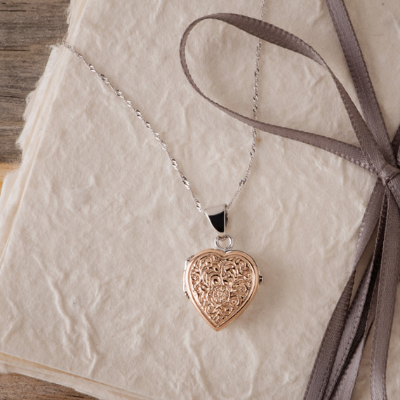 """Heart Locket in 14k White and Rose Gold (18"""")"""