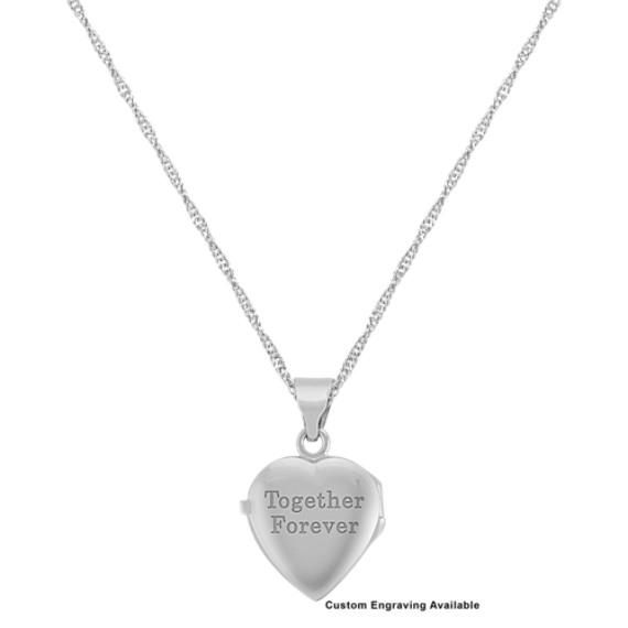 "Heart Locket in 14k White Gold (18"")"