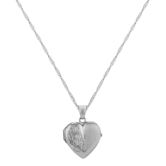 """Heart Locket with Floral Detailing in 14k White Gold (18"""")"""