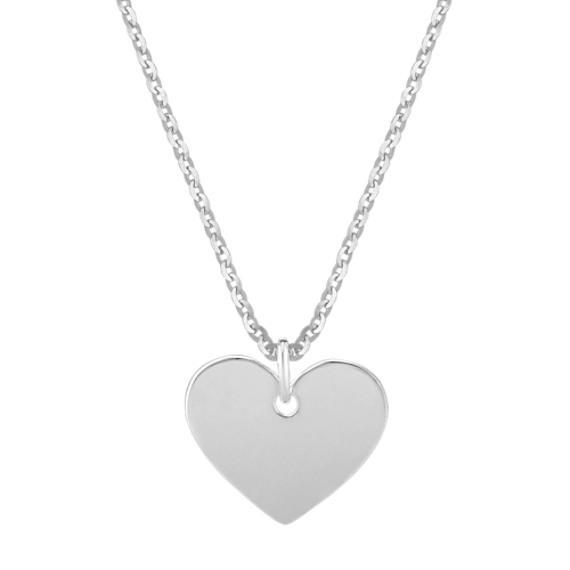 """Heart Pendant in 14k White Gold (18"""")"""