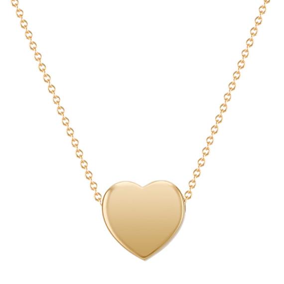 "Heart Pendant in 14k Yellow Gold (18"")"