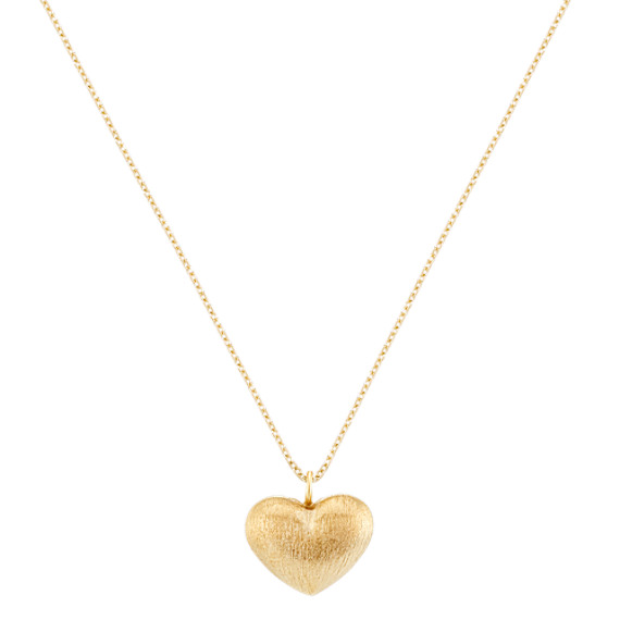 """Heart Pendant in Yellow Sterling Silver with Satin Finish (18"""")"""