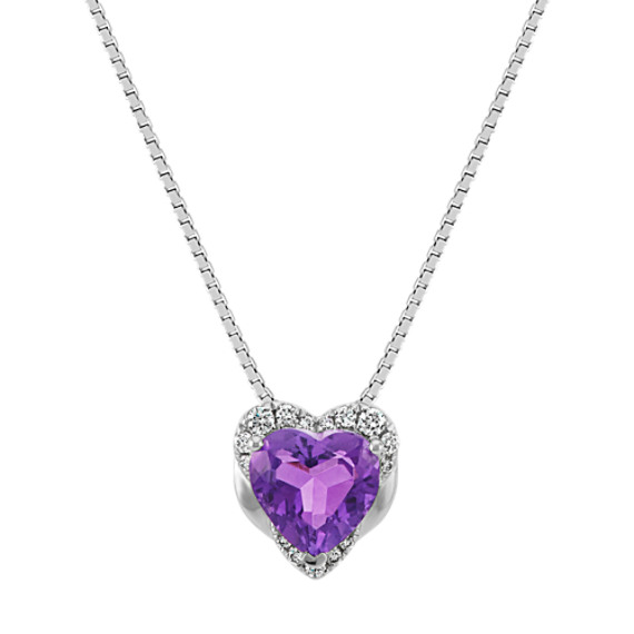 "Heart-Shaped Amethyst and Round Diamond Pendant (18"")"