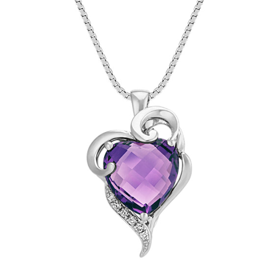 "Heart Shaped Amethyst and Round Diamond Swirl and Heart Pendant (18"")"