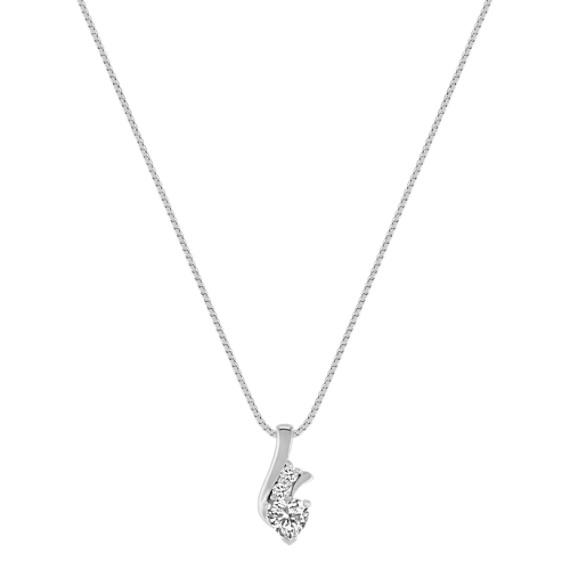 Heart-Shaped and Round White Sapphire Pendant (18)