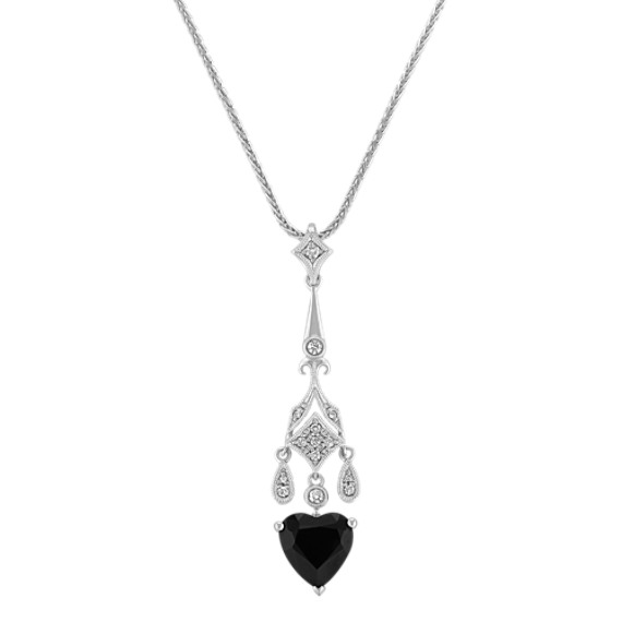 Heart-Shaped Black Sapphire and Diamond Vintage Pendant (18)