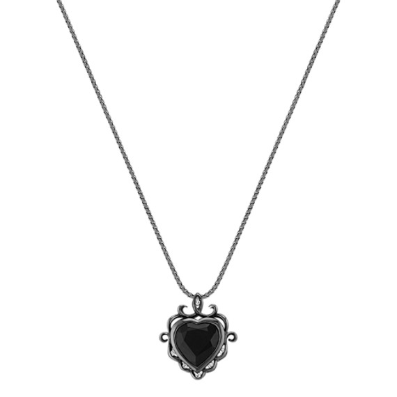 "Heart-Shaped Black Sapphire and Round Diamond Pendant with Black Rhodium (18"")"