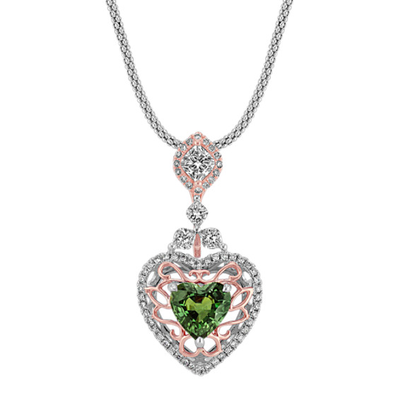 "Heart-Shaped Green Sapphire and Calla Cut and Round Diamond Pendant in Two-Tone Gold (22"")"