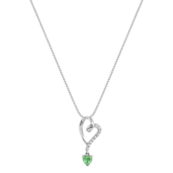 Heart-Shaped Green Sapphire and Diamond Heart Pendant (18)