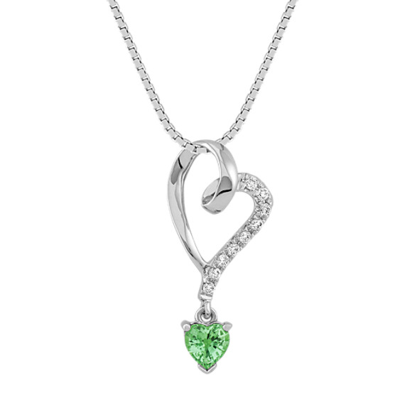 "Heart-Shaped Green Sapphire and Diamond Heart Pendant (18"")"