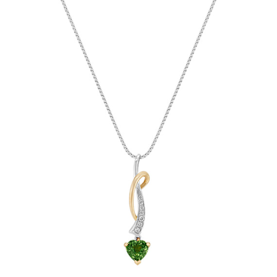 "Heart-Shaped Green Sapphire and Round Diamond Pendant (18"")"