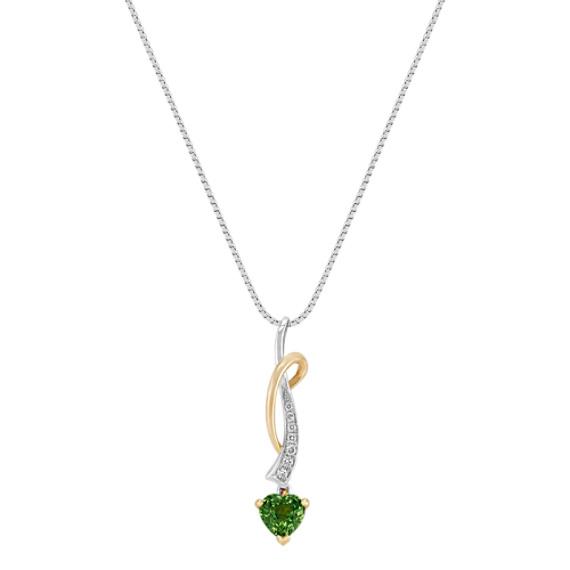 "Heart-Shaped Green Sapphire and Round Diamond Pendant (18"")"
