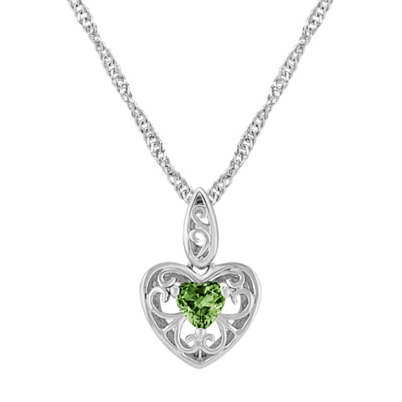 Heart Shaped Green Sapphire and Sterling Silver Pendant (18)