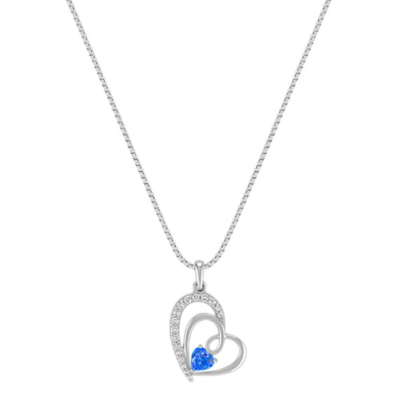 Heart-Shaped Kentucky Blue Sapphire and Diamond Sweetheart Pendant in Sterling Silver (18)