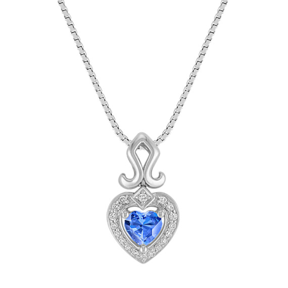Heart-Shaped Kentucky Blue Sapphire Pendant in Sterling Silver (18)