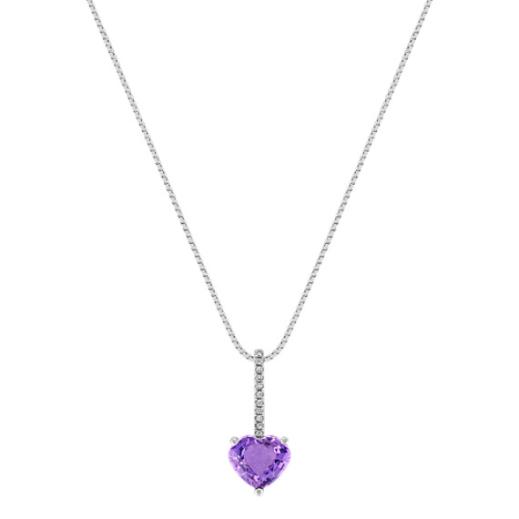 Heart-Shaped Lavender Sapphire and Round Diamond Pendant (18)