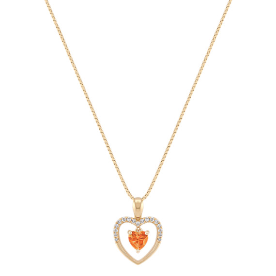 Heart Shaped Orange Sapphire and Diamond Heart Pendant (18)