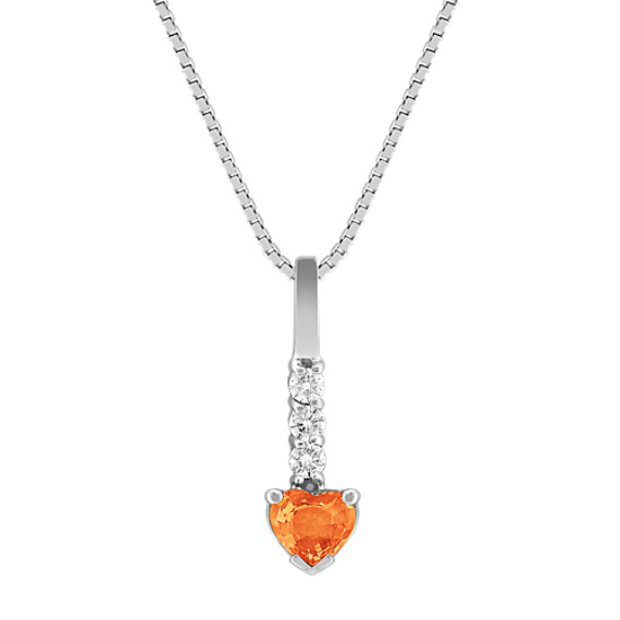 "Heart-Shaped Orange Sapphire and Diamond Pendant (18"")"