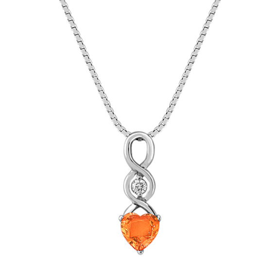 "Heart Shaped Orange Sapphire and Round Diamond Pendant (18"")"