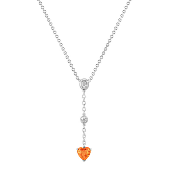 Heart-Shaped Orange Sapphire and Round Diamond Y-Shaped Necklace in Sterling Silver (18)