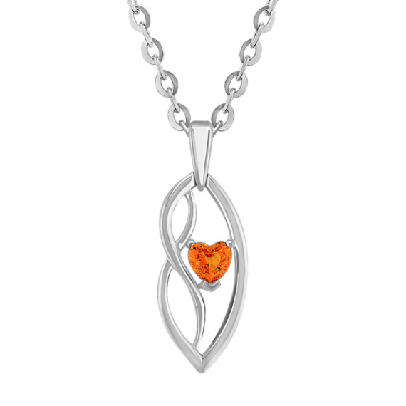 "Heart-Shaped Orange Sapphire and Sterling Silver Pendant (18"")"