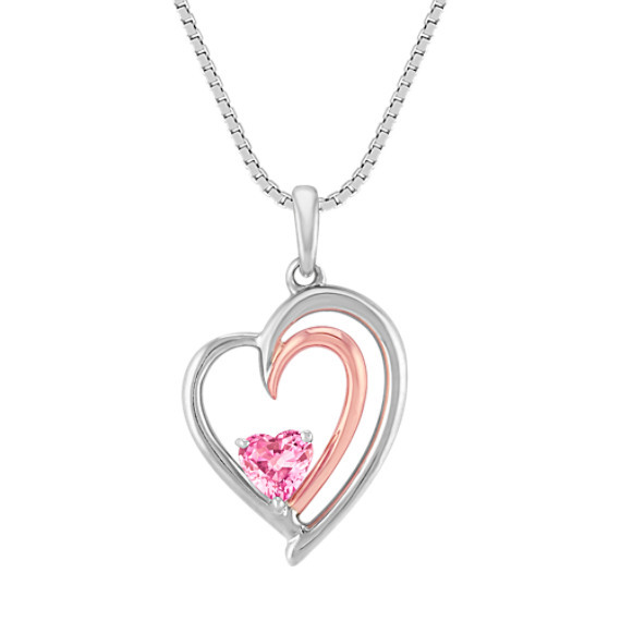 "Heart-Shaped Pink Sapphire, 14k Rose Gold and Sterling Silver Pendant (18"")"
