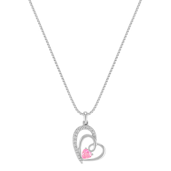 Heart-Shaped Pink Sapphire and Diamond Pendant in Sterling Silver (18)