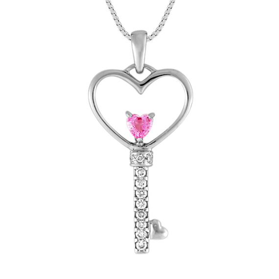 "Heart-Shaped Pink Sapphire and Diamond Pendant (18"")"
