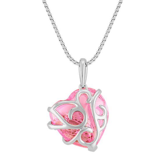 Heart Shaped Pink Sapphire and Diamond Pendant (18)