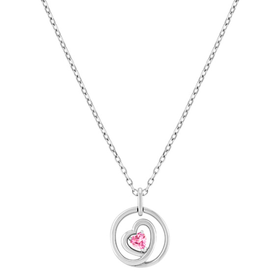"Heart Shaped Pink Sapphire and Sterling Silver Circle Pendant (18"")"