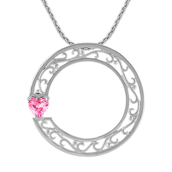 "Heart-Shaped Pink Sapphire and Sterling Silver Circle Sweetheart Pendant (18"")"