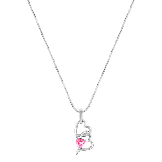 Heart-Shaped Pink Sapphire and Sterling Silver Heart Pendant (18)